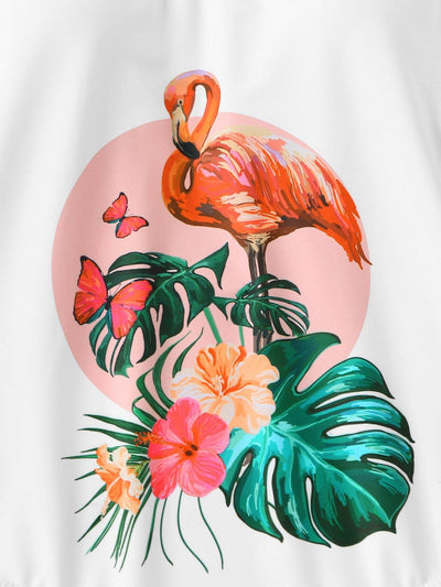Low Back Tropical and Flamingo One Piece Swimsuit - One Piece Swimwear