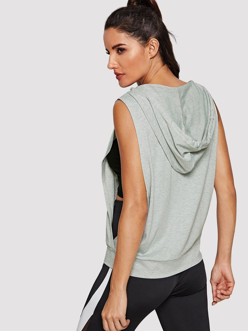 Low Side Pocket Front Hooded Tank