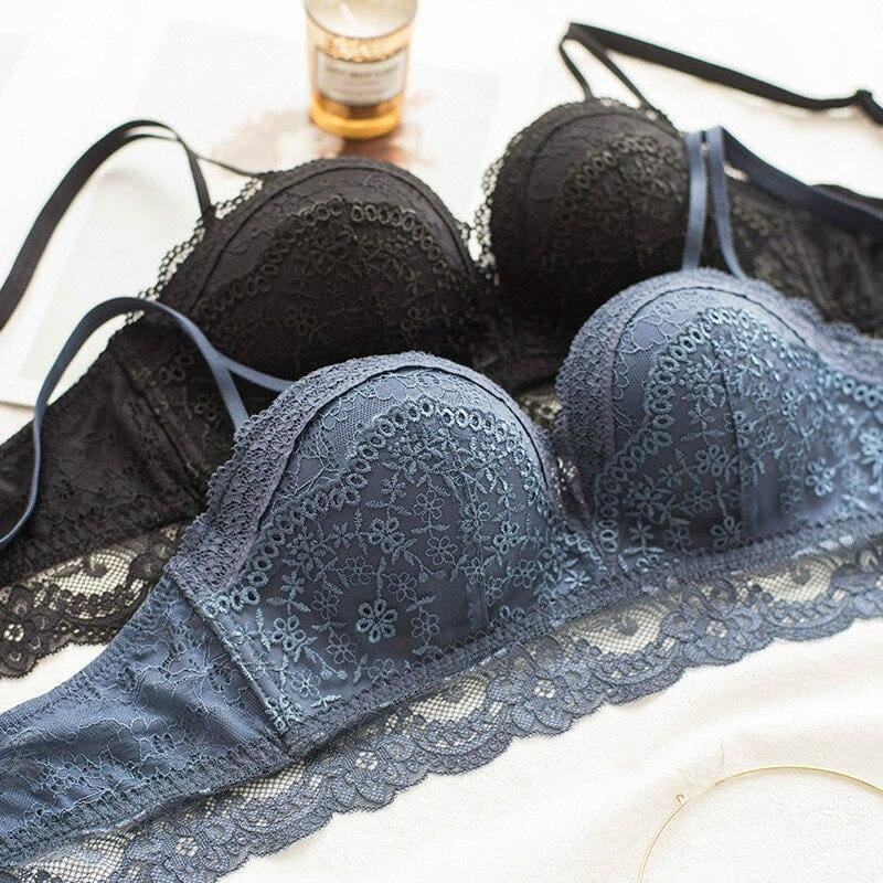 Luxury Blue Lace Push Up Lingerie Set - Lingerie