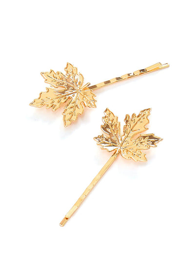 Maple Leaves Hair Clip 2Pcs - Hair Accessories
