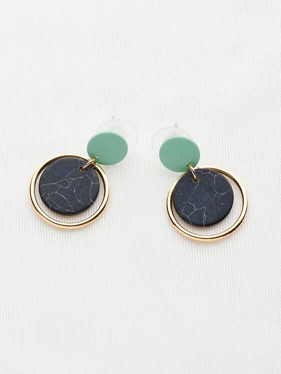 Marble Effect Hoop Drop Earrings - Earrings