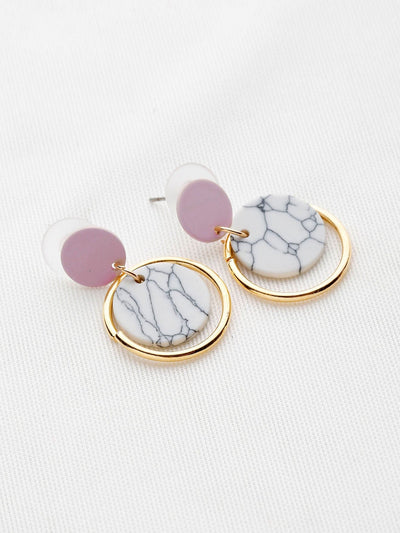Marble Effect Ring Drop Earrings - Earrings