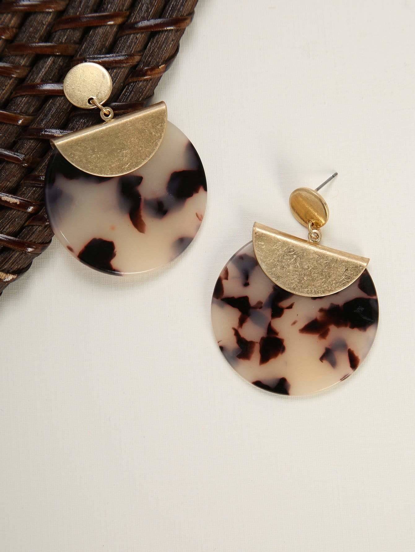 Marble Effect Round Earrings - Earrings