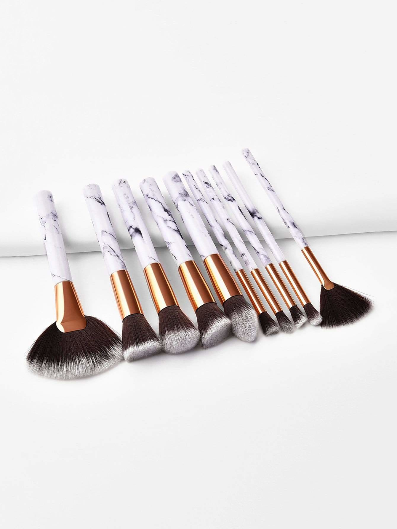 Marble Handle Makeup Brush 10Pcs - Makeup Brushes