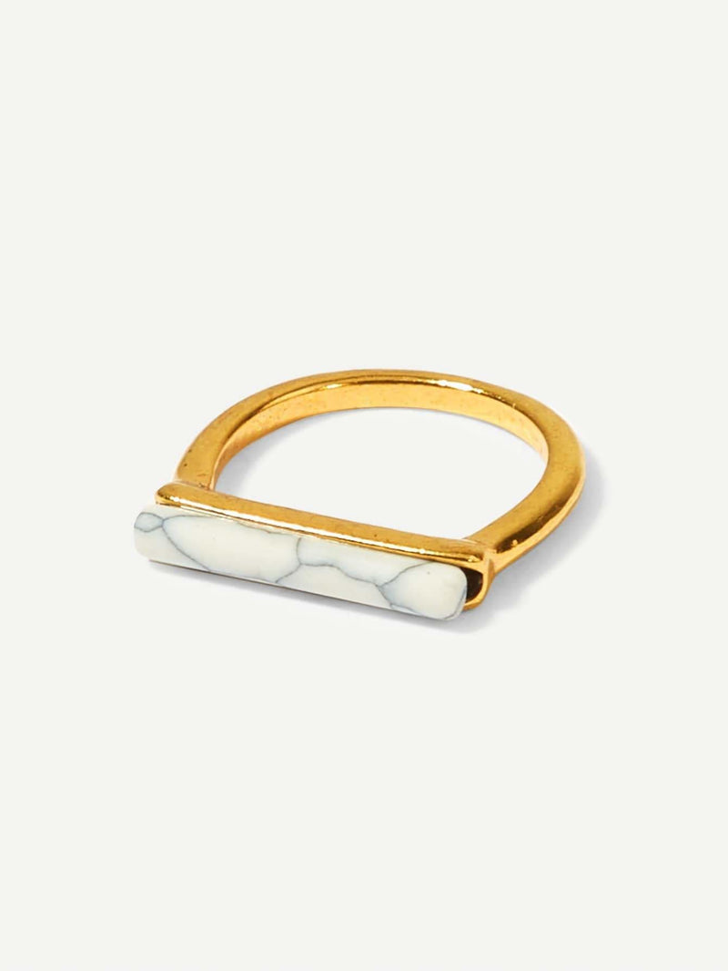 Marble Pattern Bar Ring