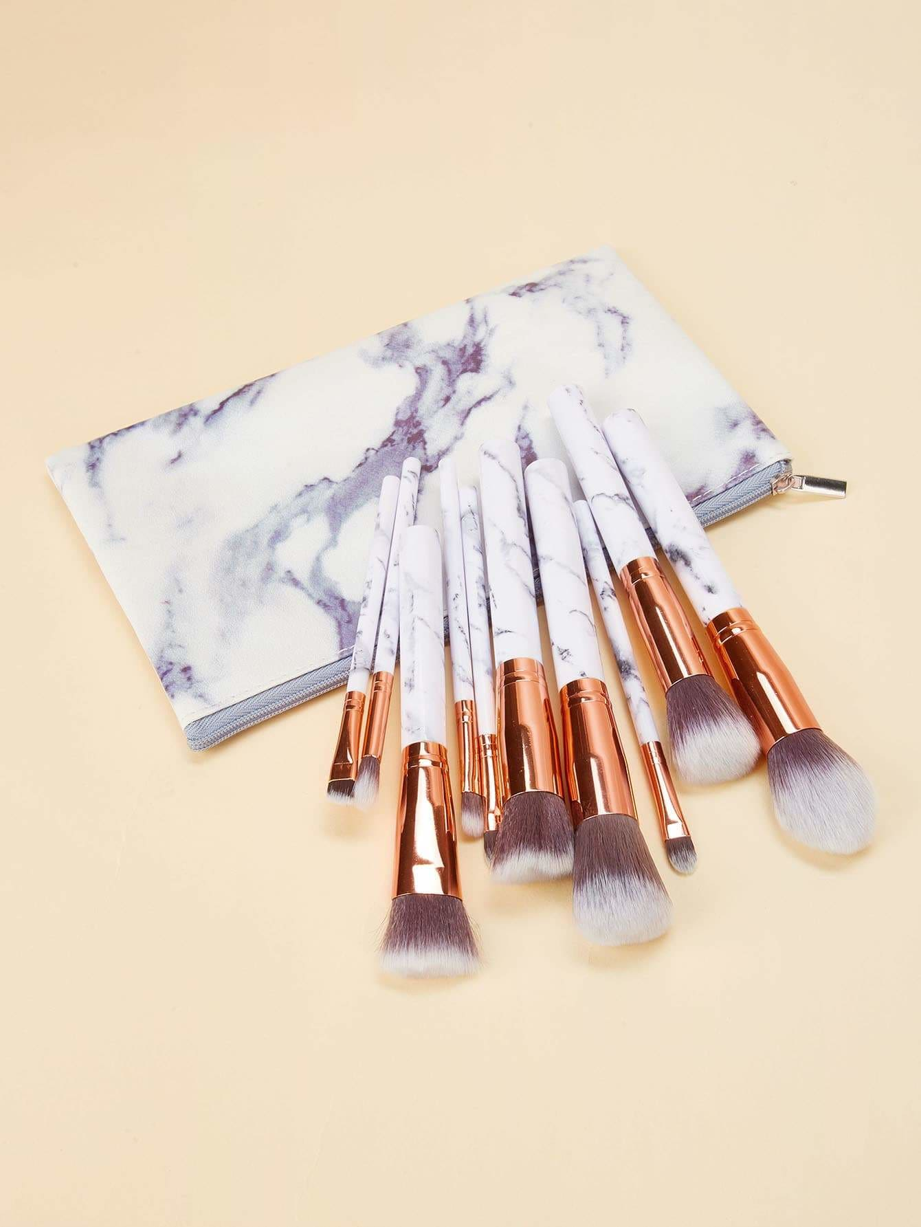 Marble Pattern Handle Makeup Brush 10Pcs - Makeup Brushes