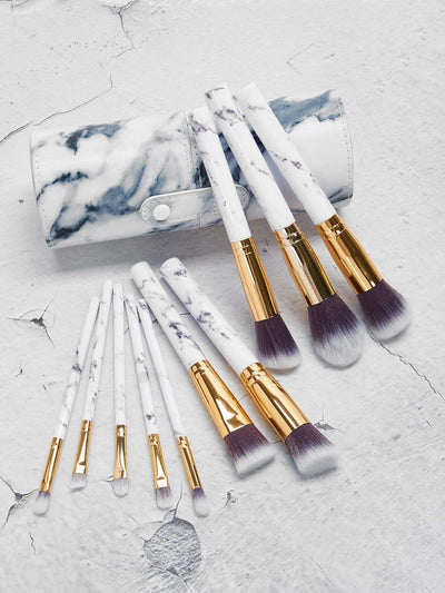 Marble Pattern Makeup Brushes With Case 11Pcs - Makeup Brushes