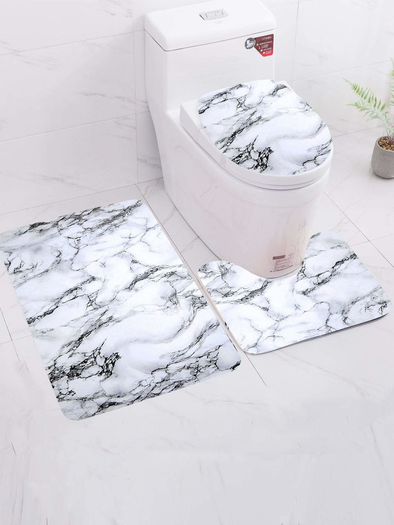 Marble Pattern Print Bath Mat 3Pcs - One-Size / Black And White - Rugs & Mats