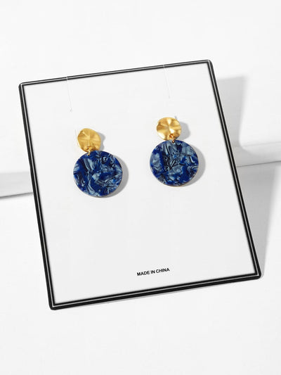 Marble Pattern Round Drop Earrings - Earrings
