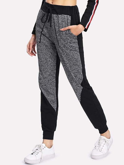 Marled Panel Drawstring Sweatpants - Fittness Leggings
