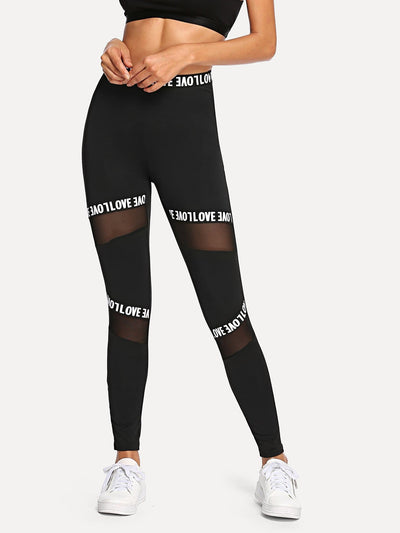 Mesh Contrast Letter Leggings - Fittness Leggings