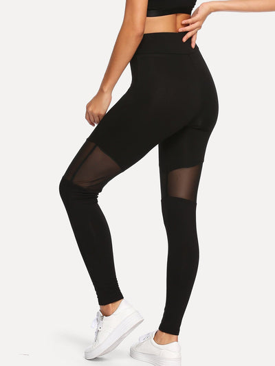 Mesh Contrast Skinny Fitness Leggings - Fittness Leggings