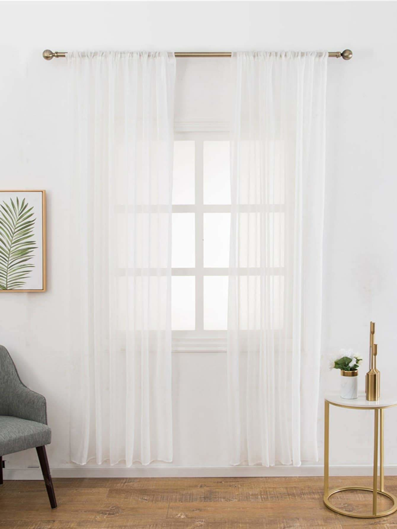 Mesh Design Rod Pocket Sheer Curtain 1pc - Curtains
