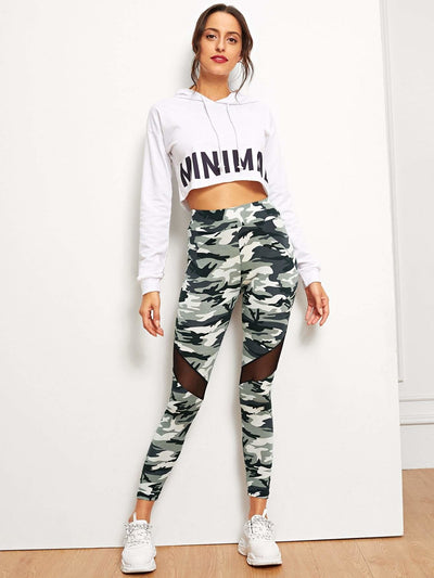 Mesh Insert Camo Print Leggings - Fittness Leggings