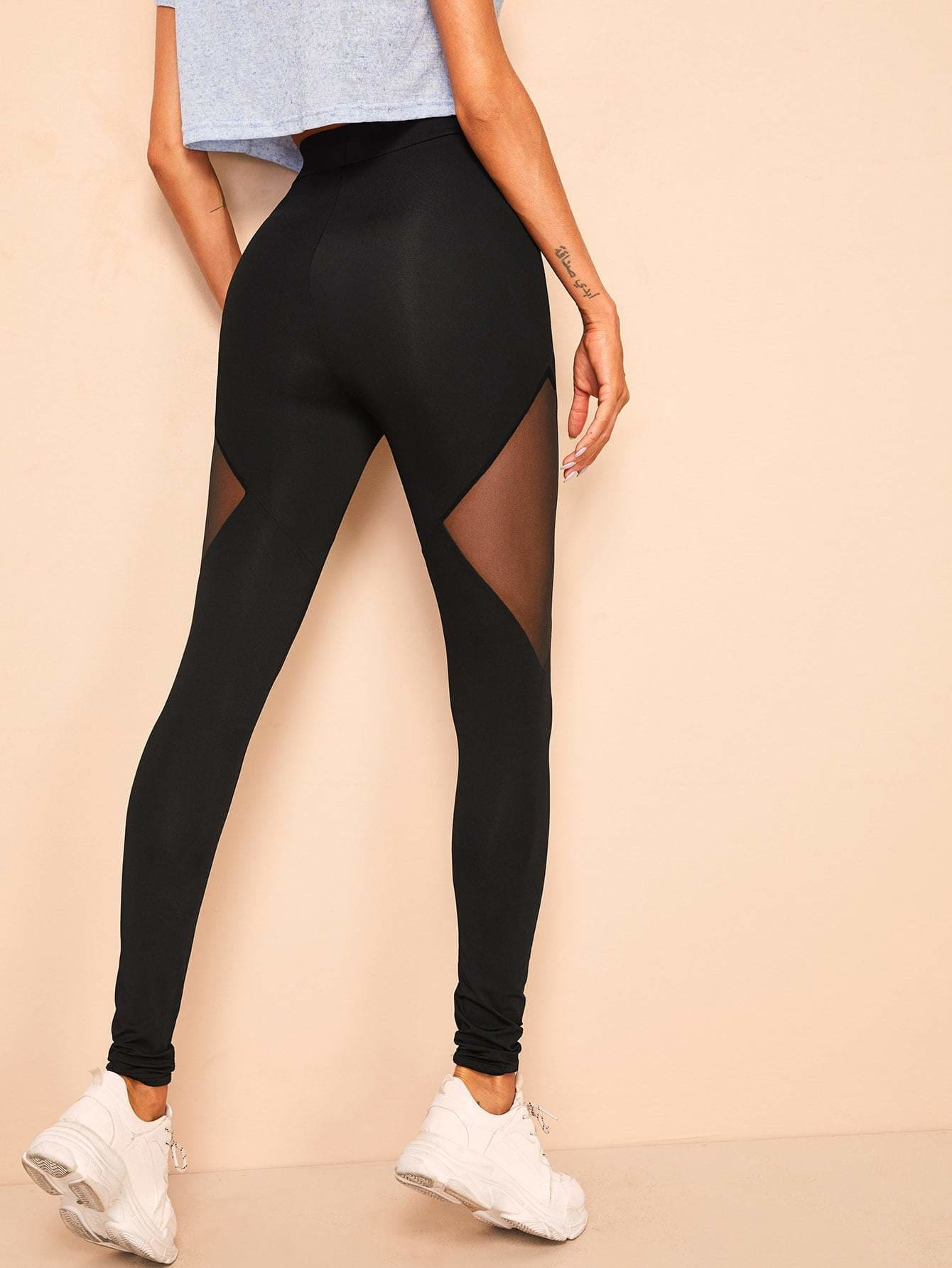 Mesh Insert High Waist Leggings - S - Fittness Leggings