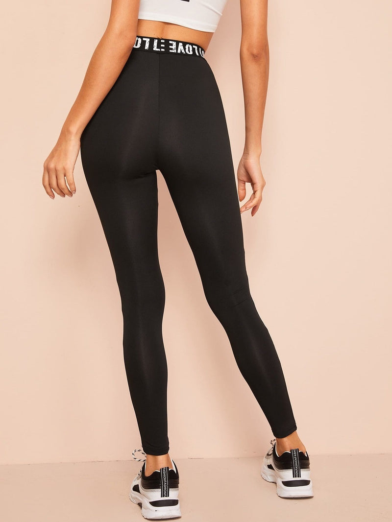 Mesh Insert Letter Leggings - S - Fittness Leggings