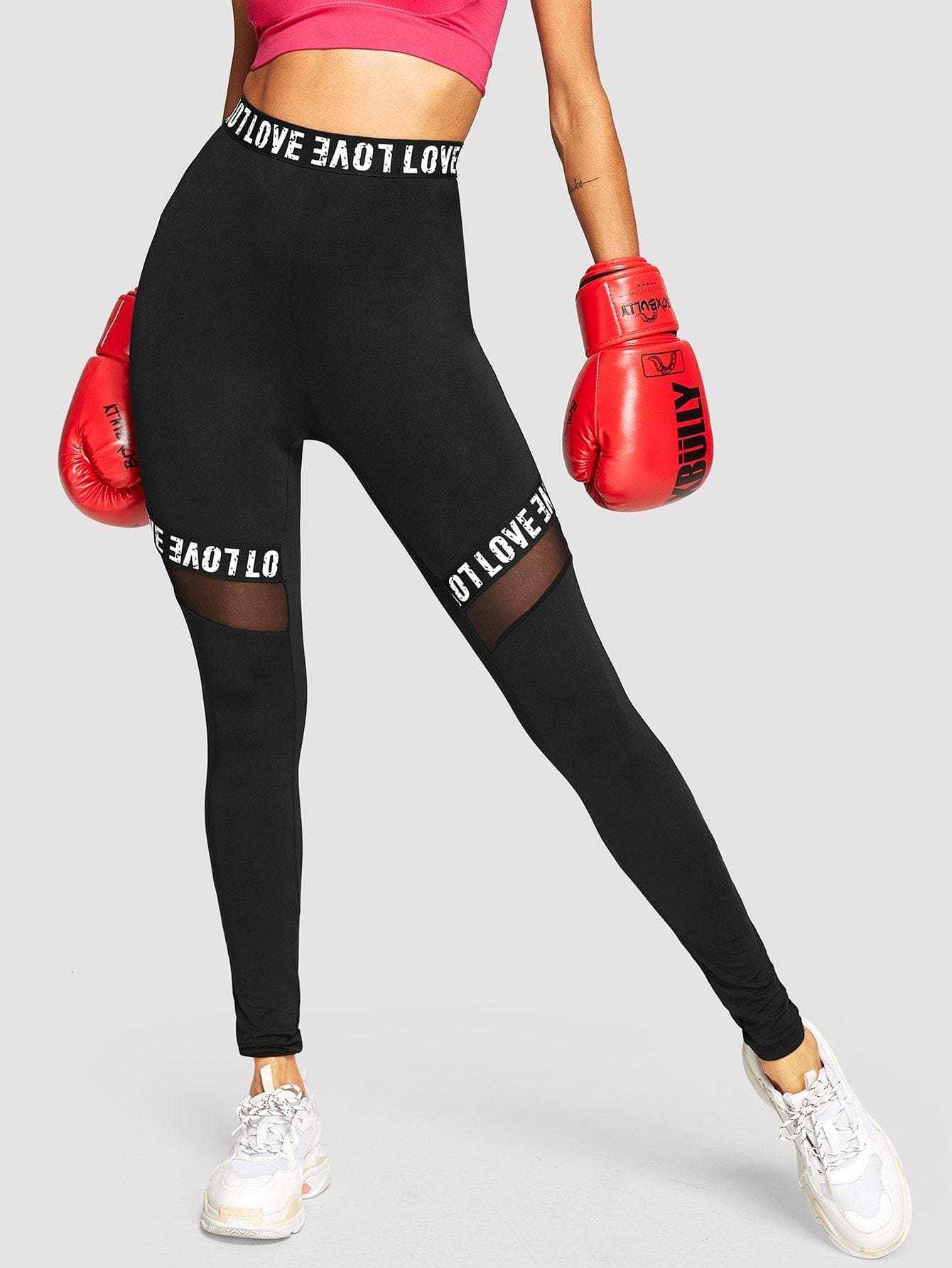 Mesh Insert Letter Print Leggings - S - Fittness Leggings