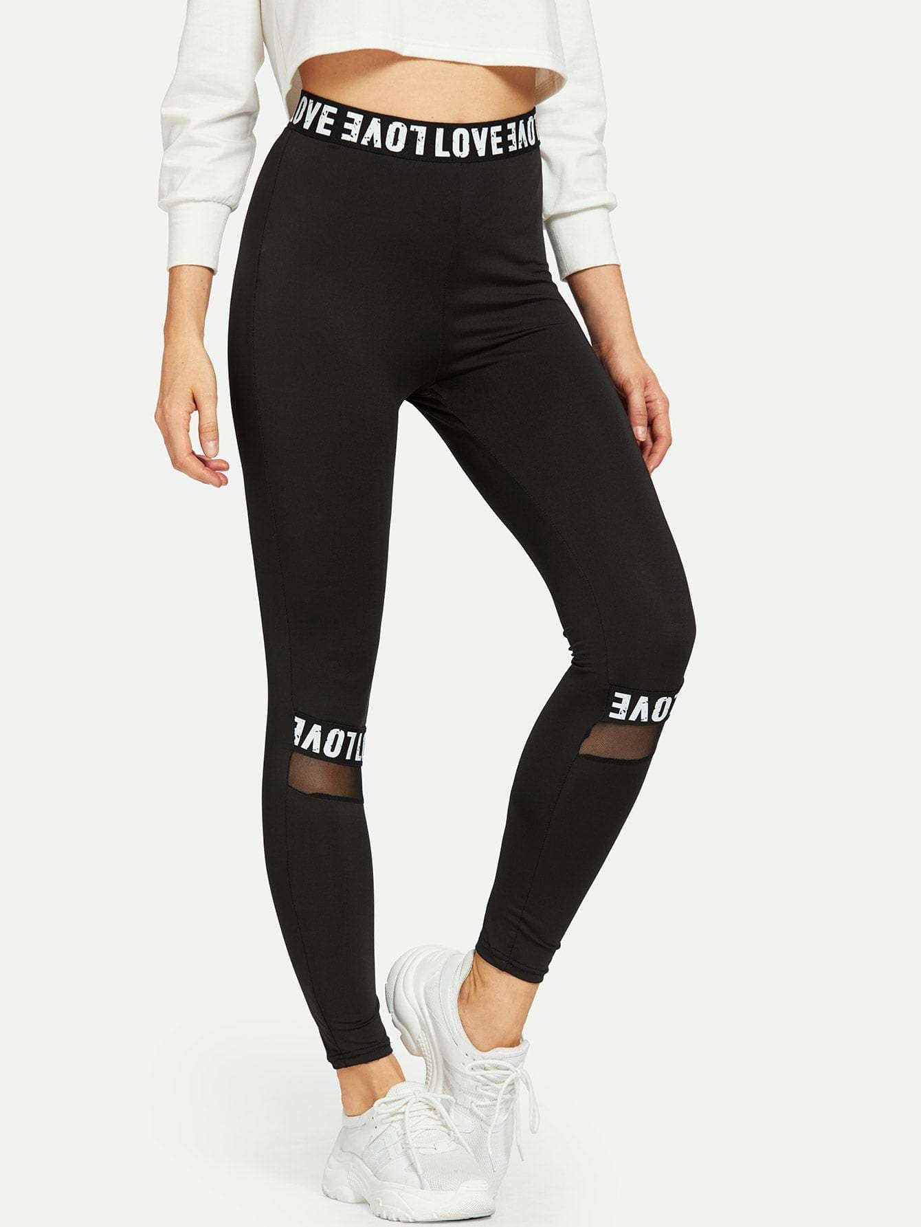 Mesh Insert Lettering Leggings - S - Fittness Leggings