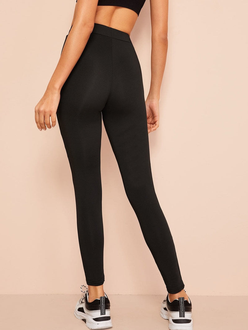 Mesh Insert Solid Leggings - S - Fittness Leggings