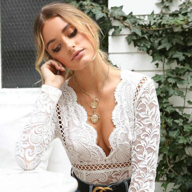 Mesh Lace Hollow Out Long Sleeve Deep V Bodysuits