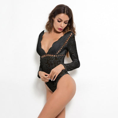 Mesh Lace Hollow Out Long Sleeve Deep V Bodysuits - Bodysuits