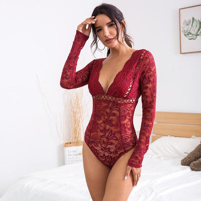 Mesh Lace Hollow Out Long Sleeve Deep V Bodysuits - burgundy / S - Bodysuits