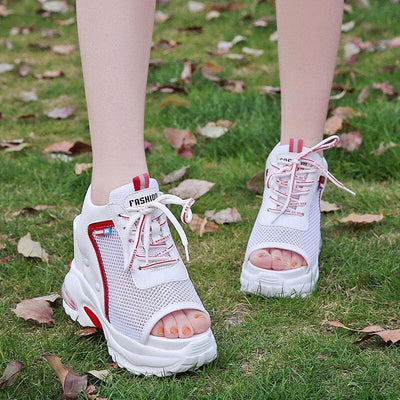 Mesh Lace-Up Platform Sneakers - Womens Sneakers