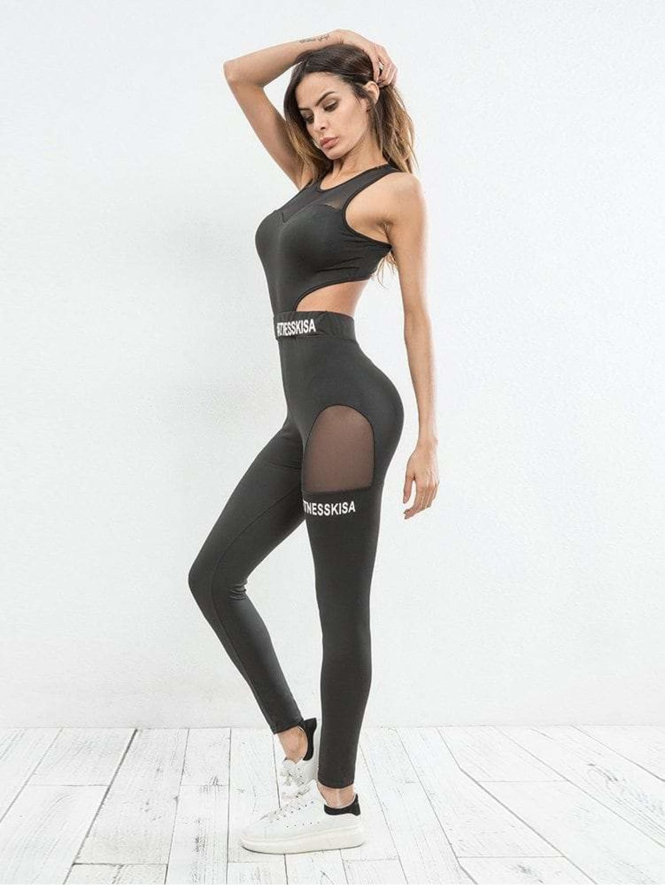 Mesh Panel Cut Out Gym Fitness Jumpsuit - Sportsuit