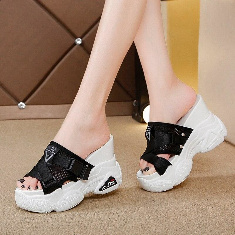 Mesh Platform Slippers - Black / 6.5 - Womens Sneakers