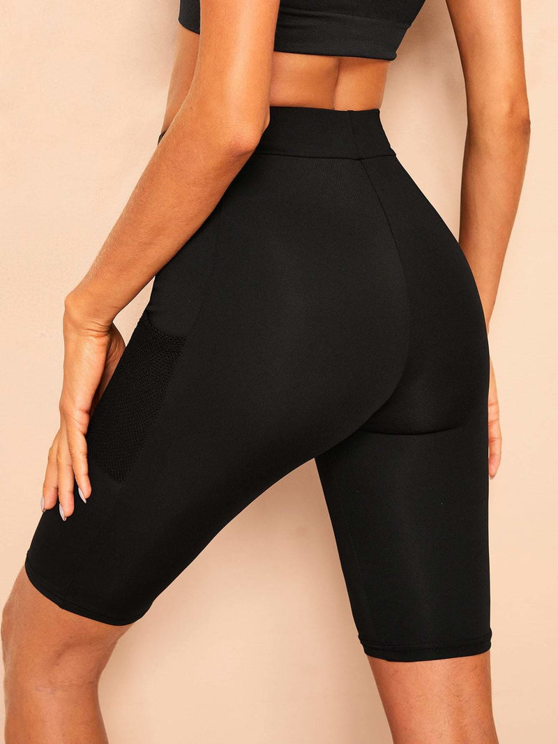 Mesh Pocket Patched Solid Skinny Leggings Shorts - S - Fittness Leggings