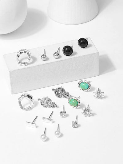 Metal Ball & Gemstone Stud Earrings 9Pairs - Earrings