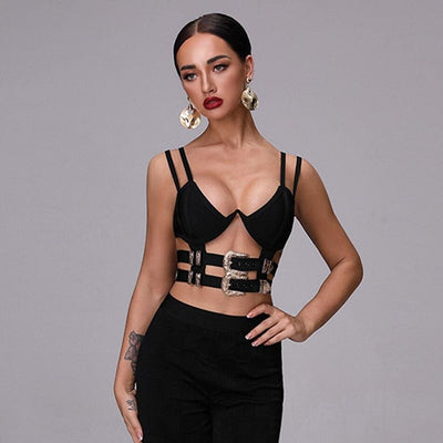 Metal Buckle Hollow Backless Bandage Crop Top - Crop Tops