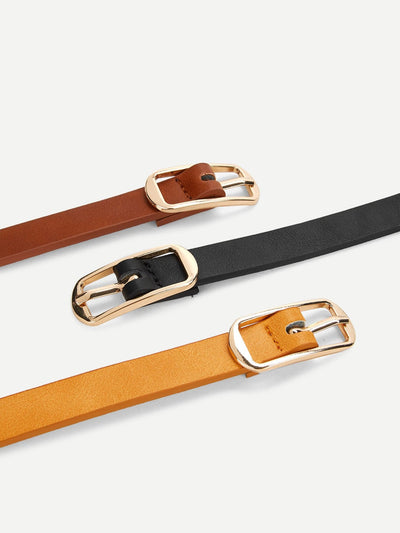 Metal Buckle Hollow Out Belt 3 Pcs - Belts