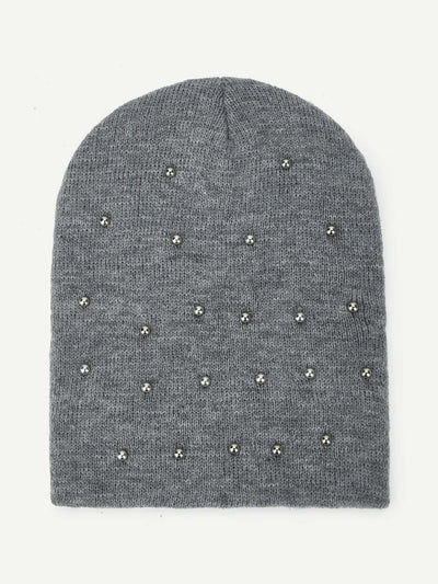 Metal Decorated Beanie Hat - Hats & Gloves