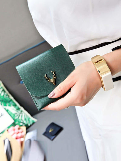 Metal Deer Pu Wallet - Womens Bag