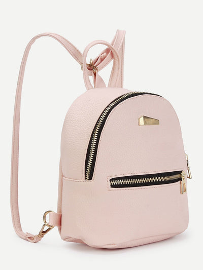 Metal Detail Front Zipper Pu Backpack - Womens Bag