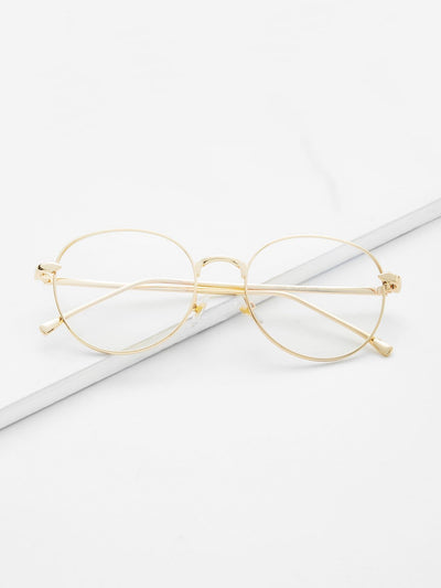 Metal Frame Clear Lens Sunglasses - Sunglasses