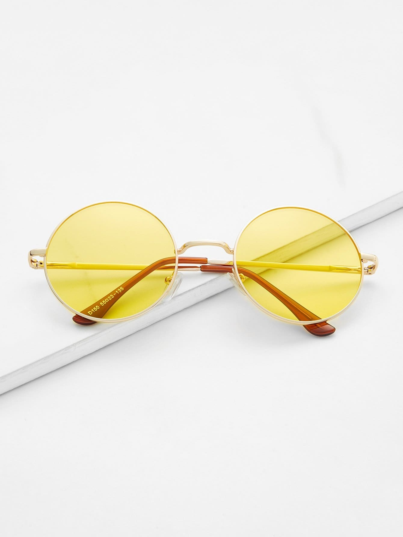 Metal Frame Yellow Round Lens Retro Style Sunglasses - Sunglasses