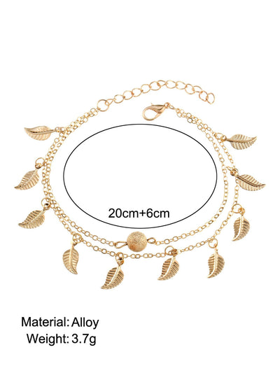 Metal Leaf Decorated Chain Anklet Body Jewelry - Body Jewelry