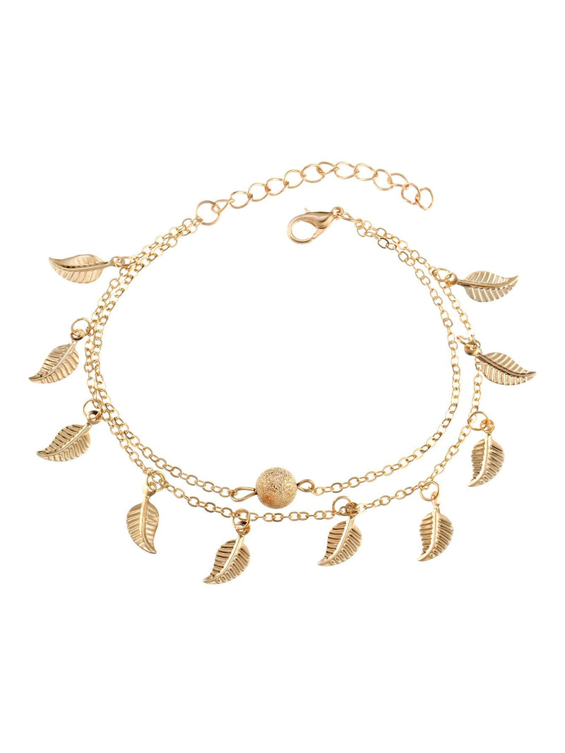 Metal Leaf Decorated Chain Anklet Body Jewelry