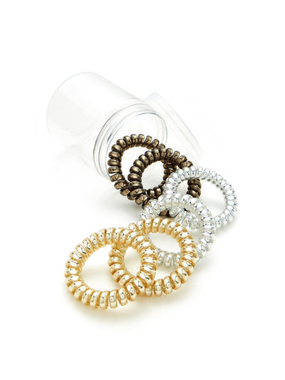 Metallic Coil Hair Ties 6Pcs - Hair Accessories