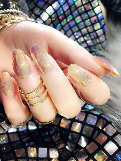 Metallic Fake Nails Set 25Pcs - Beauty Tools