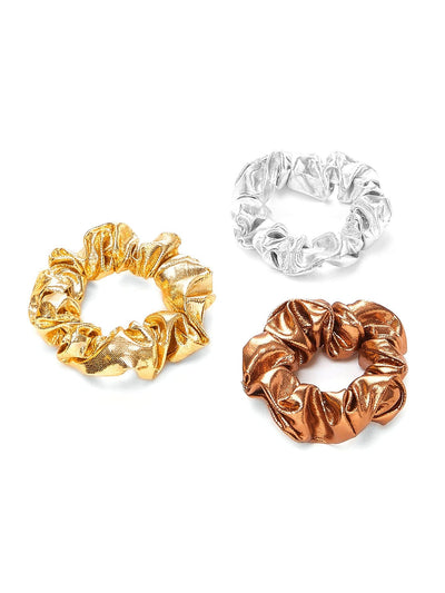 Metallic Hair Scrunchie 3pcs - Hair Accessories