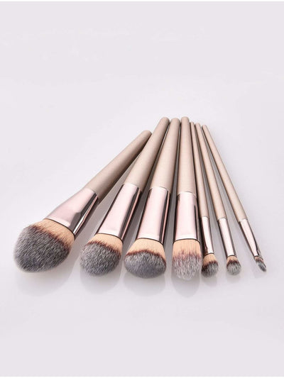 Metallic Handle Makeup Brush 7Pcs - Makeup Brushes