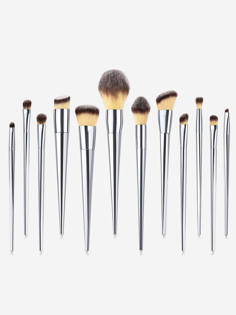Metallic Makeup Brush 12Pcs - Makeup Brushes