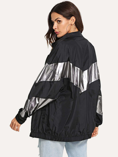 Metallic Panel Insert Drop Shoulder Jacket - Gym Tops