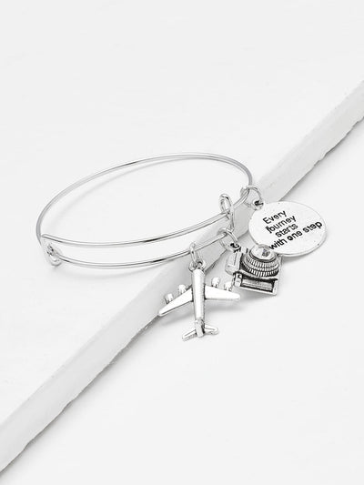 Mini Aircraft & Rhinestone Decorated Bangle Bracelet - Bracelets