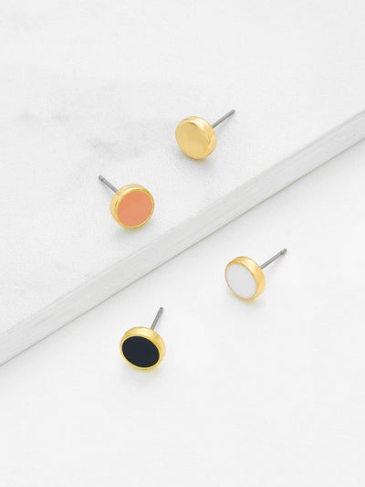 Mini Round Stud Earring Set 4Pair - Earrings