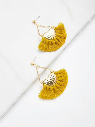 Mini Tassel Fan Shaped Earrings - Earrings