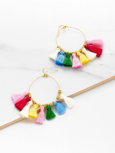 Mini Tassel Hoop Earrings - Earrings
